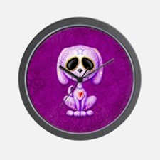 Purple Zombie Sugar Skull Puppy Wall Clock