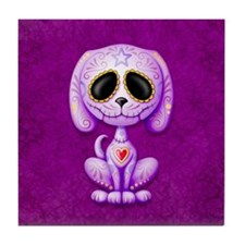 Purple Zombie Sugar Skull Puppy Tile Coaster