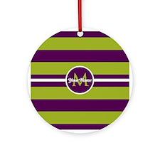 Bold Stripe Monogram Ornament (Round)