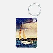 Sailboat on Lake Keychains