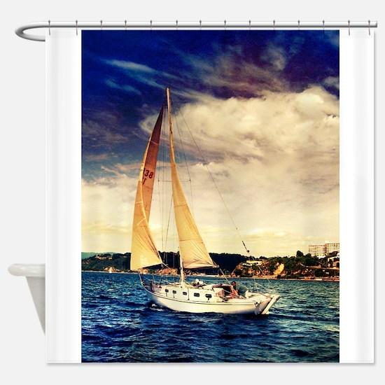 Sailboat on Lake Shower Curtain