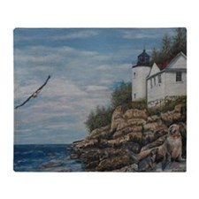 Bar Harbour lighthouse Throw Blanket