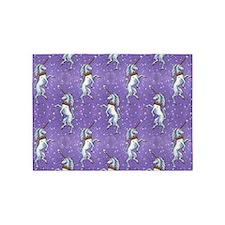 Unicorn Purple Glitter Personalize 5'x7'area Rug