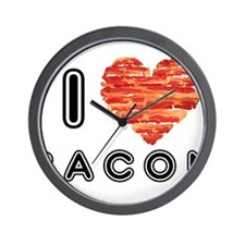 I Heart Bacon Wall Clock