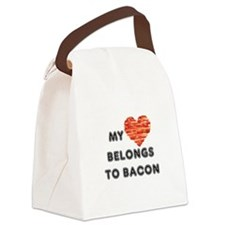 My heart belongs to bacon Canvas Lunch Bag