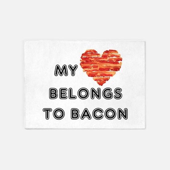 My heart belongs to bacon 5'x7'Area Rug