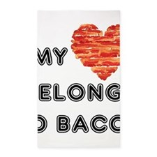 My heart belongs to bacon 3'x5' Area Rug