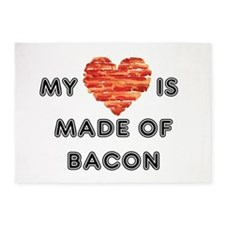 My heart is made of bacon 5'x7'Area Rug