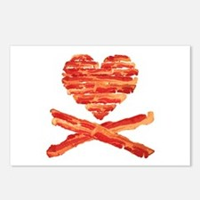 Bacon Heart and Crossbones Postcards (Package of 8