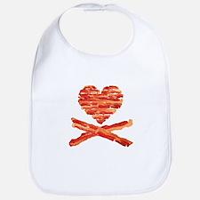 Bacon Heart and Crossbones Bib