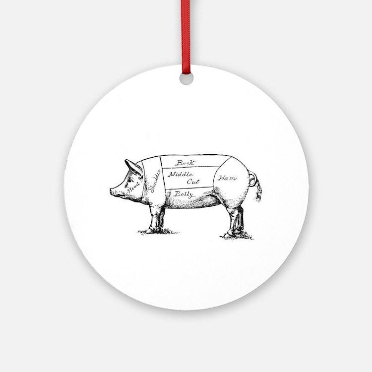 Pig Diagram Ornament (Round)