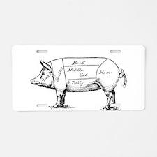 Pig Diagram Aluminum License Plate