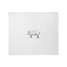 Pig Diagram Throw Blanket