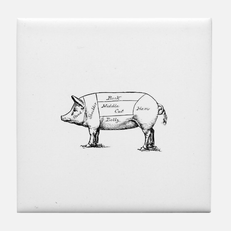 Pig Diagram Tile Coaster