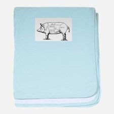 Pig Diagram baby blanket