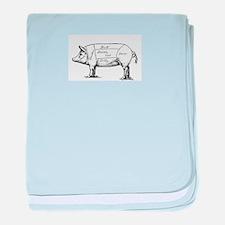 Pig Diagram baby blanket