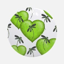 Love Hearts and Dragonflies Luscious Lime Ornament