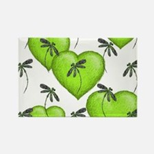 Love Hearts and Dragonflies Luscious Lime Magnets