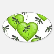 Love Hearts and Dragonflies Luscious Lime Decal