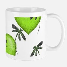 Love Hearts and Dragonflies Luscious Lime Mugs