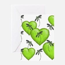 Love Hearts and Dragonflies Luscious Lime Greeting