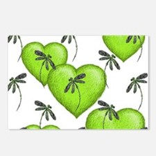 Love Hearts and Dragonflies Luscious Lime Postcard