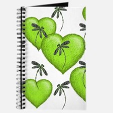 Love Hearts and Dragonflies Luscious Lime Journal