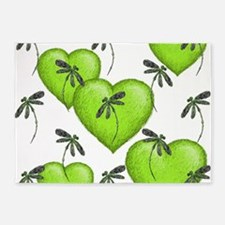 Love Hearts and Dragonflies Luscious Lime 5'x7'Are