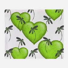 Love Hearts and Dragonflies Luscious Lime Throw Bl