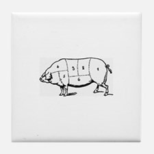 Pig Parts in Numbers Tile Coaster