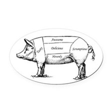 Tasty Pig Oval Car Magnet