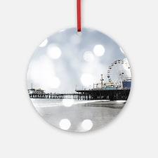 Grey Sparkling Pier Round Ornament