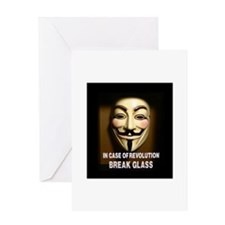 In case of revolution, break glass. Greeting Cards