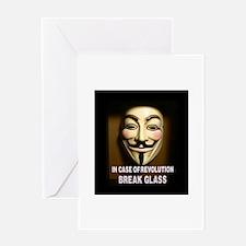 In case of revolution, break glass. Greeting Cards