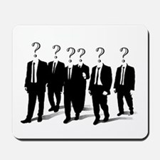 Suits with question marks as heads Mousepad
