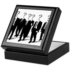 Suits with question marks as heads Keepsake Box