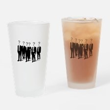 Suits with question marks as heads Drinking Glass