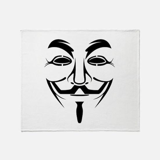 Guy Fawkes Stencil Throw Blanket