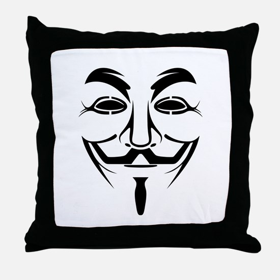 Guy Fawkes Stencil Throw Pillow