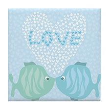 Kissing fishes Tile Coaster