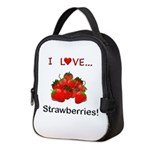 I Love Strawberries Neoprene Lunch Bag