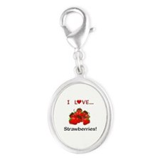 I Love Strawberries Silver Oval Charm