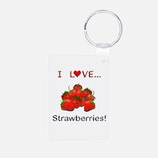 I Love Strawberries Keychains