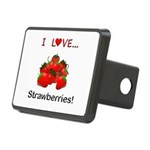 I Love Strawberries Rectangular Hitch Cover