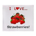 I Love Strawberries Throw Blanket