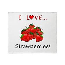 I Love Strawberries Throw Blanket