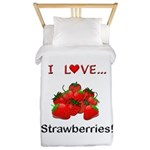 I Love Strawberries Twin Duvet