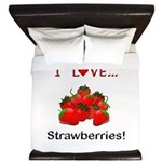 I Love Strawberries King Duvet