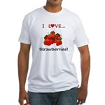 I Love Strawberries Fitted T-Shirt