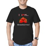 I Love Strawberries Men's Fitted T-Shirt (dark)